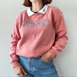 VINTAGE   Floral Pink Embroidered Grandma Sweater